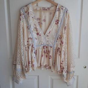Free People Boogie All Night Blouse Top Size Large